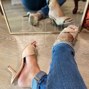 Classy Square Toe Nude Kitte Heel Fold Over Mules